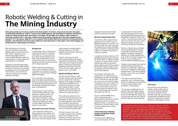 Australian Welding magazine article about POWER-TRAC