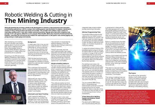 Australian Welding magazine article about POWER-TRAC