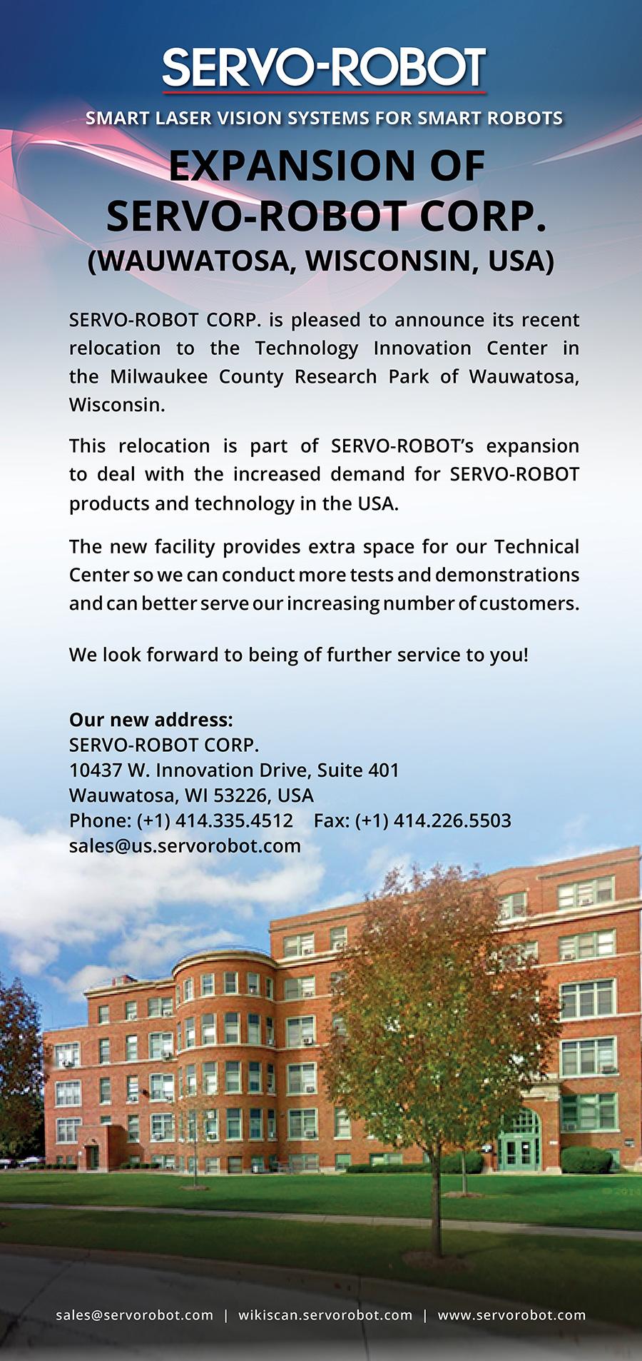 Expansion of SERVO-ROBOT CORP. (USA)
