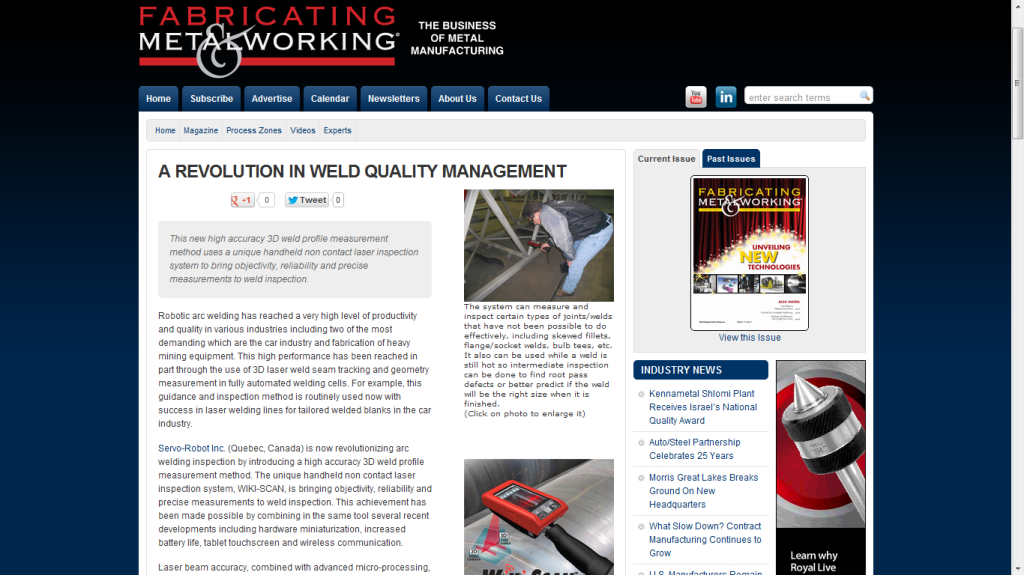 WiKI-SCAN™ featured in Fabricating & Metalworking