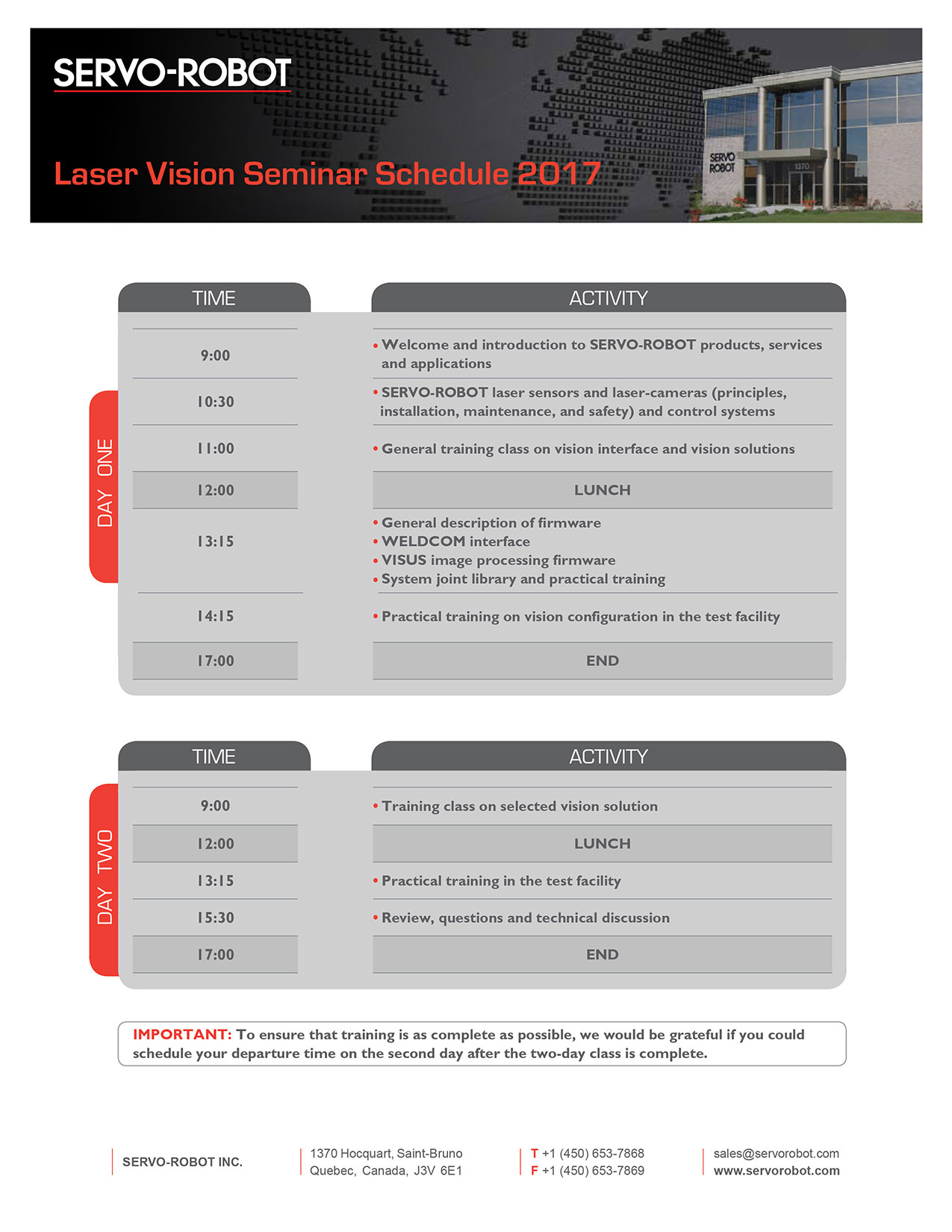 SERVO-ROBOT Training Schedule for 2017 page 2