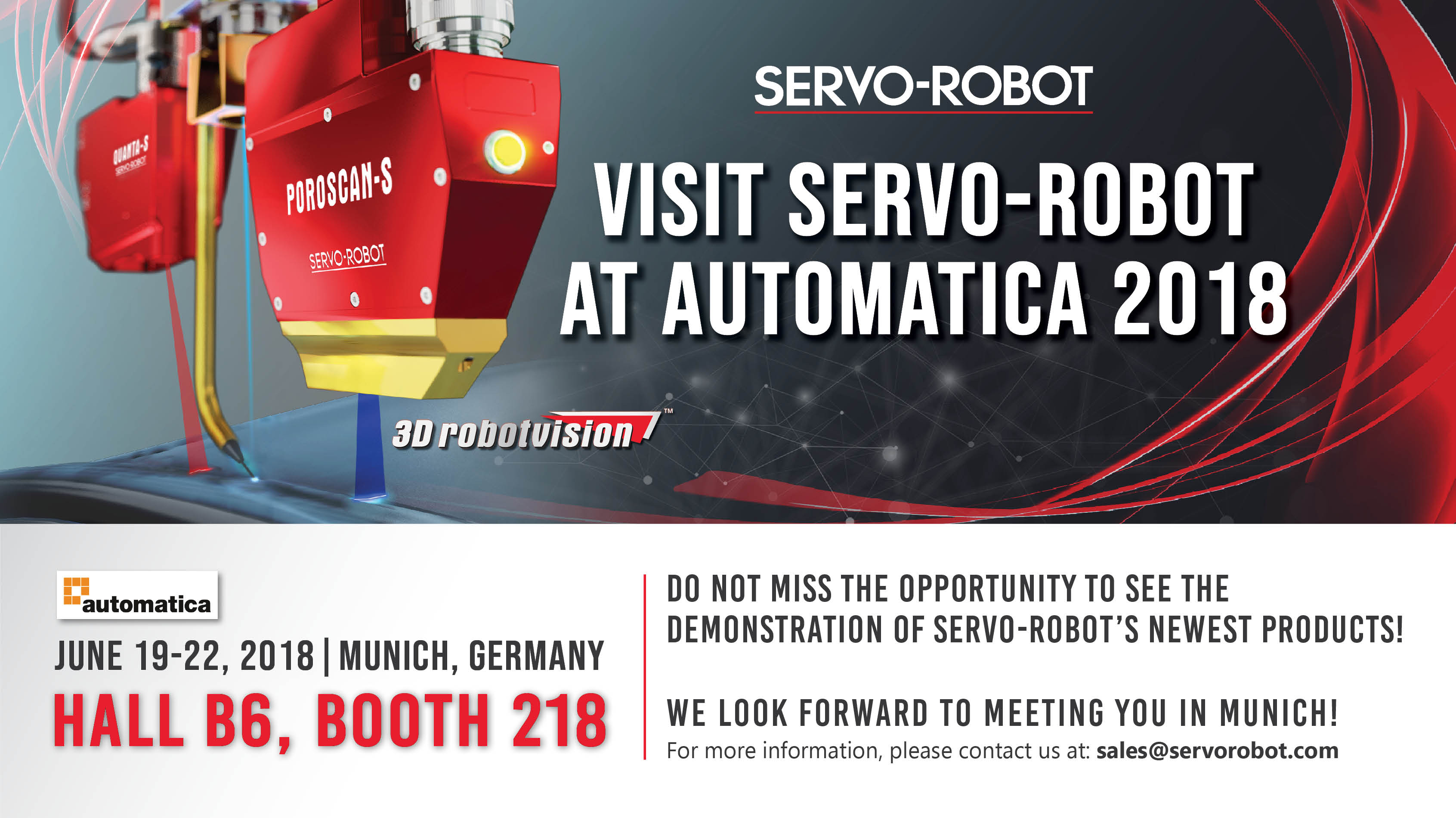 Visit SERVO-ROBOT at AUTOMATICA 2018 in Munich, Germany